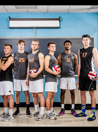 From left to right: Central York's Jack Schultz, Red Lion's Dillon Hildebrand, Northeastern's Dakoda Hoffman, Northeastern's Reese Devilbiss, Northeastern's Matt Schaeffer, Northeastern's Jeff Reynolds and Central York's Hayden Wagner.  GameTimePA's all-star boys volleyball players. Picture taken Wednesday, May 18, 2016, at Northeastern.