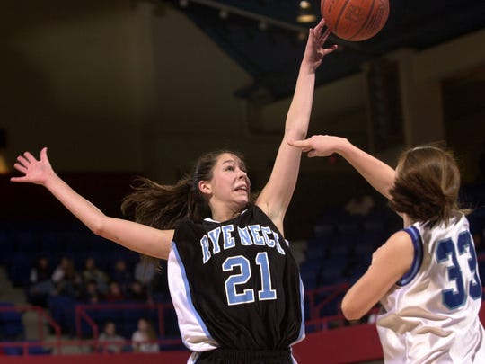Rye Neck's Johanna McNelis blocks a pass by Haldane's