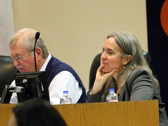 El Paso Independent School District trustees Bob Geske and Susie Byrd are shown at a board meeting in February.
