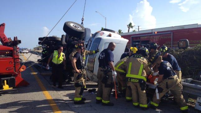 Accident on I-95 involving semi-tractor trailer