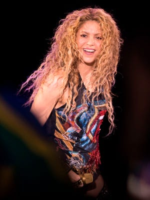 Colombian singer Shakira performs on stage at the Bercy Accordhotels Arena in Paris on June 13, 2018 at the Accor Arena in Paris.