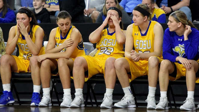 SDSU women react during the last minute in overtime against IUPUI during the Summit League women's basketball championship semifinals on Monday, March 6, 2017 at the Denny Sanford Premier Center.