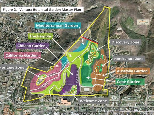 As envisioned in the master plan, the Ventura Botanical Gardens would grow over the next few decades.