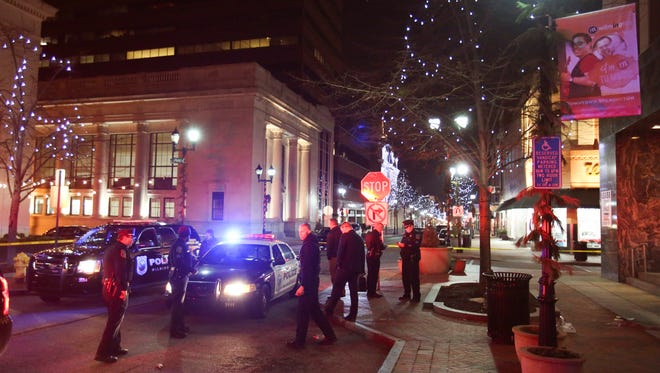 Wilmington police investigate the scene of a stabbing in the 900 block of Market St. in Wilmington reported about 9:15 p.m Wednesday.
