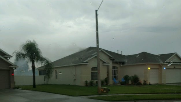 House in north Melbourne caught fire after being struck by lightning Tuesday afternoon.