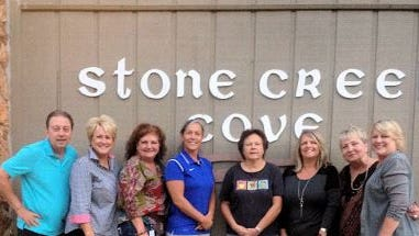 Shown is the Stone Creek Cove Social Committee from left are Dave Maher, Barbara Harris, Christina Williams, Diane Raabe, Diane Zaug, Suzanne Lowe, Judy Stevanovich and Wendy Reed.