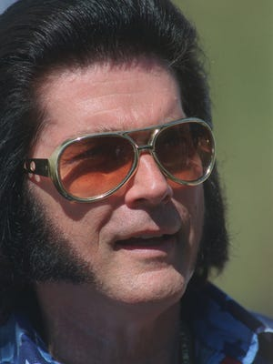 Elvis impersonator Sherman Arnold is pictured at Ypsilanti's Elvisfest in 2001. Now 75, Arnold has performed his Elvis Presley tribute show more than 10,000 times.