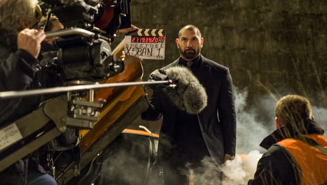 """Dave Bautista is ready for his villainous closeup as Mr. Hinx in """"Spectre."""""""