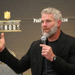 Former NFL quarterback Brett Favre, who will be inducted into the Pro Football Hall of Fame class of 2016, speaks in the Hall of Fame press room at the the fifth annual NFL Honors at the Bill Graham Civic Auditorium on Saturday, Feb. 6, 2016, in San Francisco. (Photo by Jack Dempsey/Invision for NFL/AP Images)