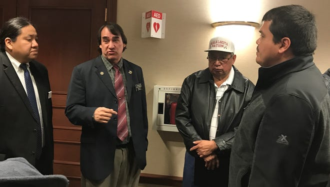 Sen. Kevin Killer and Rep. Shawn Bordeaux spoke with tribal leaders following a committee hearing on Senate Bill 176 Wednesday.