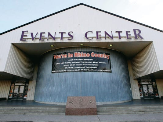 VICTOR CALZADA-EL PASO TIMES The Rhinos, an Amateur Athletic Union-sanctioned junior league hockey team play in the El Paso County Events Center behind the El Paso County Coliseum at 4100 E. Paisano in Central El Paso. It formerly was the County Equestrian Center.