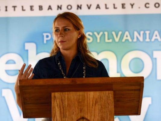 Laura Putt, president of Visit Lebanon Valley, the county's tourism agency, speaks at a news conference Thursday, where she announced the tourism agency's new name.