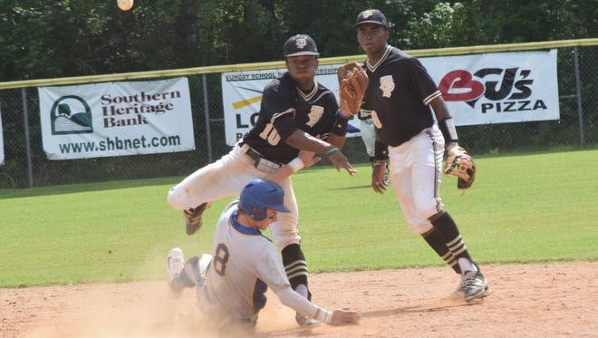 Jena's Trelon Jones (10, back left) tags second for an out against Buckeye's Alex Hockersmith (8, front left) and throws to first for an attempted double play during a 2017 game. Shaun Todd (8, back right) comes in for back up.