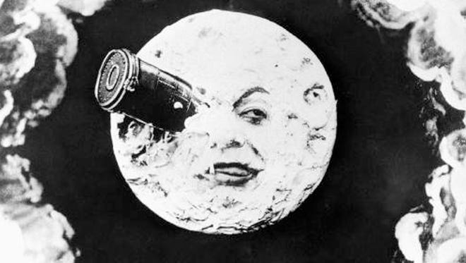 "This first movie to depict space travel was ""Le Voyage Dans La Lune,"" a silent film made in 1902. Explorers in a bullet-shaped space capsule land right in the eye of the Man in the Moon."
