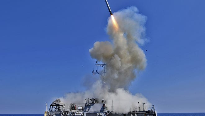 Tomahawk cruise missiles, seen being fired in 2011, will be aimed at Syria.