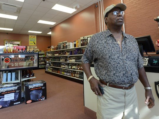 George Trawick runs SLT Package Store in at the corner of Commerce and Bibb streets in downtown Montgomery.