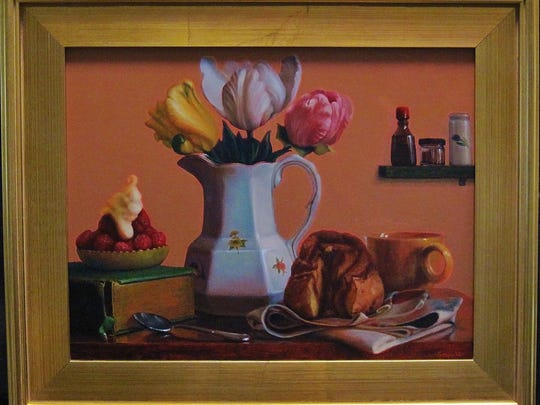 """""""Springtime Breakfast Table,"""" oil on panel by John A. Sayers, part of """"Celebrating Forty with Festive Art About Food"""" at the Miller Art Museum."""
