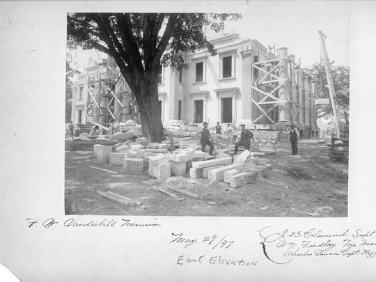 The Vanderbilt Mansion in Hyde Park, which was built between 1896 and 1898, under construction.