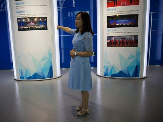 Fiona Wang, deputy director for business development at the China Medical City, gives a tour of the organization's museum on Friday, Sept. 29, 2017, Taizhou, China. Michael Lee, owner of the Hamburg Inn No. 2 in Iowa City, hopes to partner with CMC and the University of Iowa to provide greater educational opportunities for Chinese medical students.