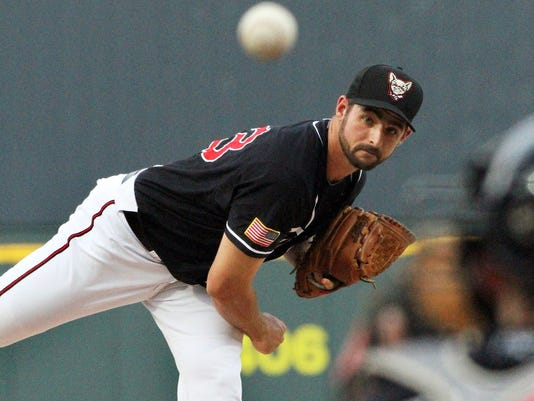 El Paso Chihuahuas pitcher Donn Roach lets a pitch fly against the Salt Lake Bees at Southwest University Park.