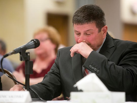 Marvin Simcakoski of Stevens Point during Dr. Noelle Johnson's testimony during the Congressional field hearing on the Tomah Veterans Affairs Medical Center at Cranberry Country Lodge in Tomah, Wis., Monday, March 30, 2015.