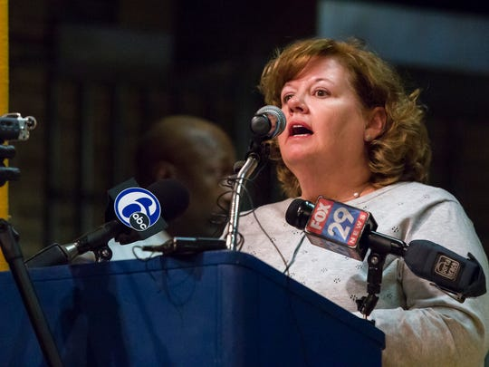 Patricia Dailey Lewis, CEO of the Beau Biden foundation, speaks at a community town hall meeting on the death of Howard High School of Technology student Amy Inita Joyner-Francis at Stubbs Elementary School on Monday evening.