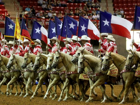 The Santa Rosa Palomino Club performs at before the start of the arena events Friday, Aug. 18, 2017, at the 37th annual Texas Ranch Roundup in Kay Yeager Coliseum.
