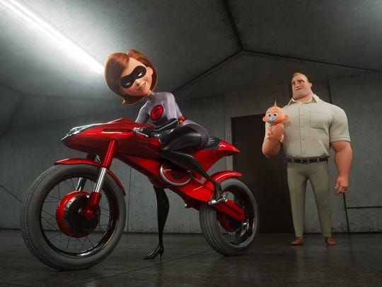 "Elastigirl (voiced by Holly Hunter) hops onboard the Elasticycle and goes back to superhero work while Mr. Incredible (Craig T. Nelson) stays at home with the kids in ""Incredibles 2"" (June 15)."