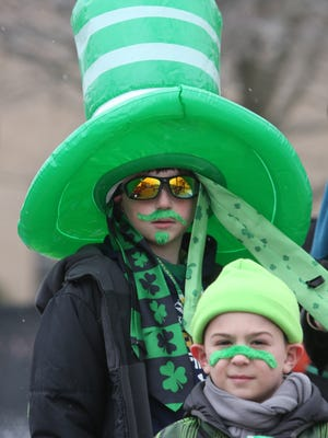 Jack David, 11 and his bother Damian, 8, are pictured in their finest St. Patrick's Day gear, during the 62nd annual Yonkers St. Patrick's Day Parade, March 18, 2017.