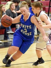 White House High senior guard Lauren Felts dribbles