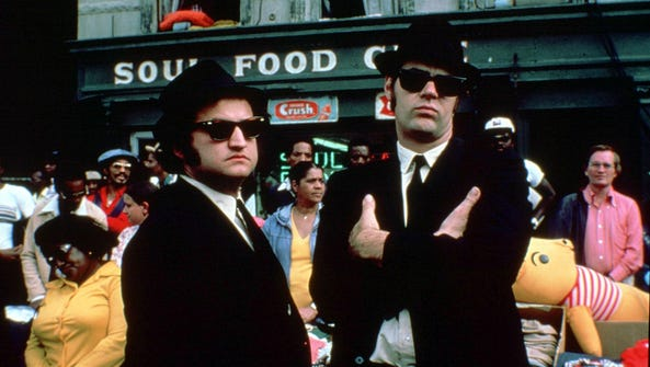"Production still from the film ""The Blues Brothers"""