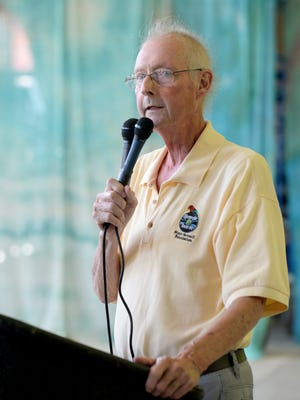 Dave Fulton speaks of the work of the Whitewater Gorge Alliance during the Whitewater Gorge Park re-dedication ceremony Friday, June 17, 2016, inside the Starr-Gennett Building in Richmond.