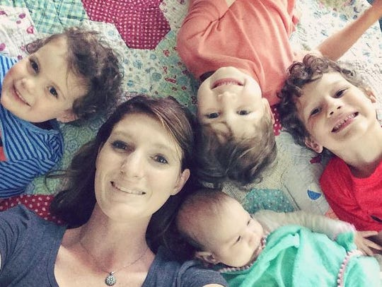 Kimmie and her four children: Joshua Walker, Jacob