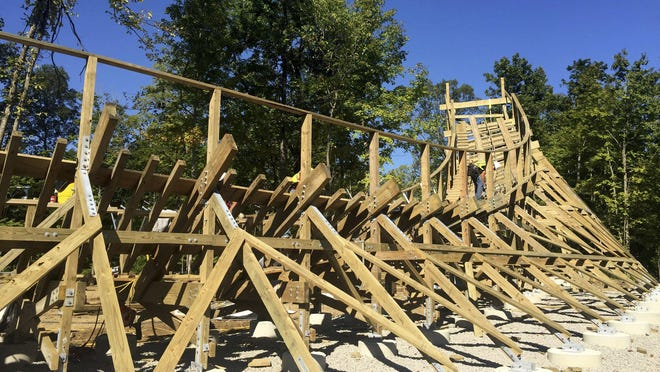 Mystic Timbers roller coaster at Kings Island is shown under construction in 2016.