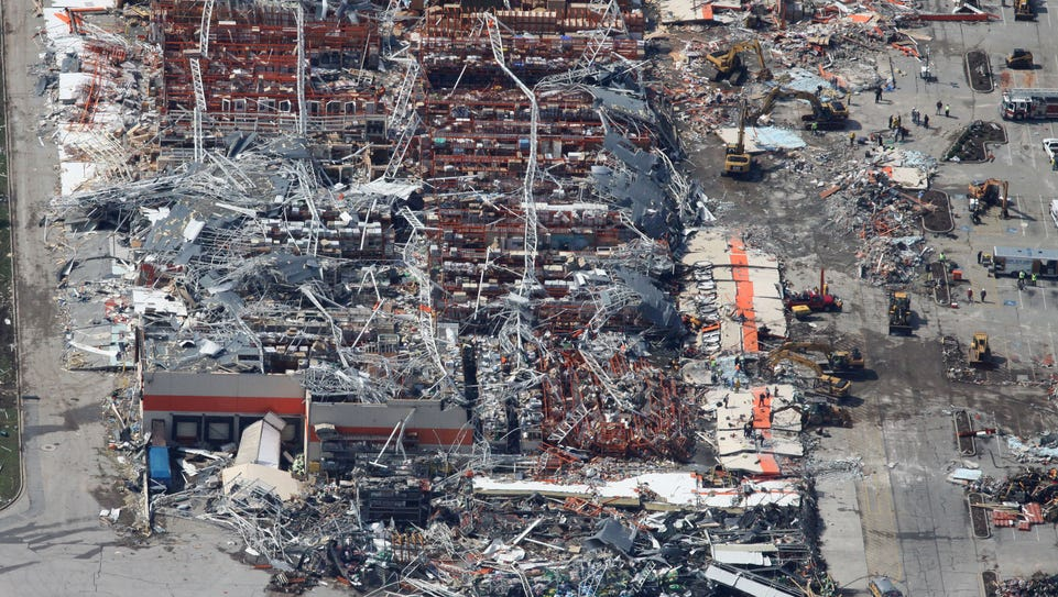 An aerial view of tornado damage at Home Depot in Joplin
