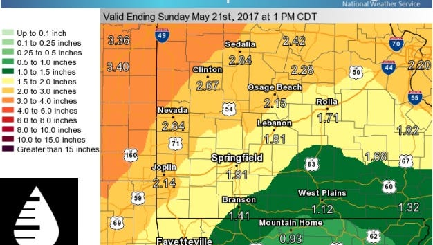The National Weather Service has produced this map showing forecast rainfall totals expected between Thursday evening and Saturday night.