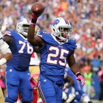 Bills running back LeSean McCoy celebrates one of his three touchdown against the 49ers.