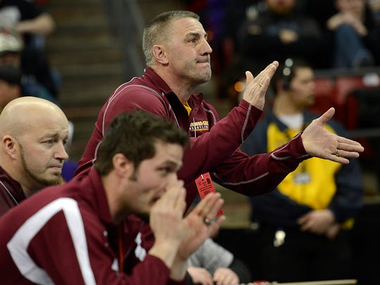 Luxemburg-Casco's coach Bob Berceau cheers on his son