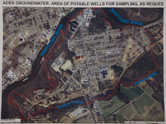 Areas of potable wells for sampling in Blades.