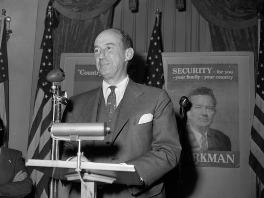 Illinois governor and Democratic presidential candidate Adlai Stevenson in Wisconsin in 1952.