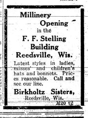 An ad for a millinery opening inside the F.F. Stelling