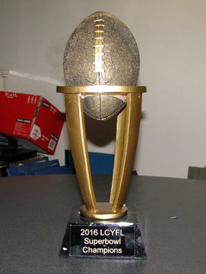 The Falcons, Cowboys, 49ers and Panthers will be chasing this Super Bowl Trophy when the Luna County Youth Football League plays its championship games on Saturday at the Shirley Sayre Memorial Fields.