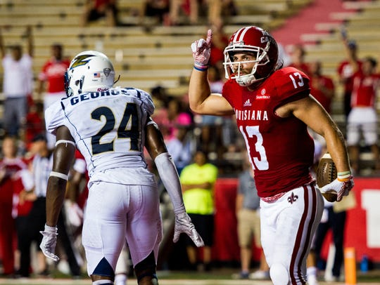 Receiver Gabe Fuselier (13) celebrates a 2015 touchdown