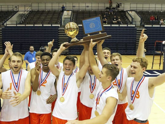 The Northeastern boys' volleyball team celebrated after beating Saegertown, 3-0, in the PIAA Class AA boys' volleyball championship at Penn State University on June 6.