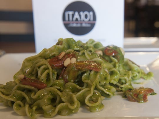 A Malfadine Trapanese (pesto pasta) is a favorite dish at the ITA101. Restaurant.