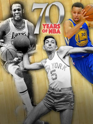 From left to right: Elgin Baylor, Ralph Kaplowitz and Stephen Curry