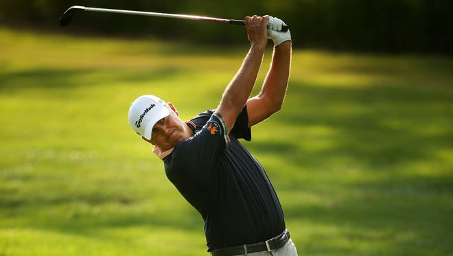 Bo Van Pelt plays his second shot on the 17th hole Thursday in the first round of The Barclays in New Jersey.