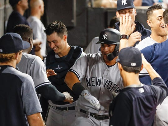 Aug 6, 2018; Chicago, IL, USA; New York Yankees second