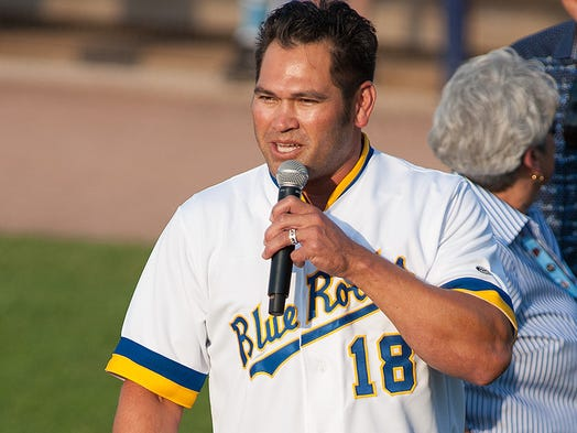 Johnny Damon speaks Tuesday night at Frawley Stadium before the Wilmington Blue Rocks retired his No. 18 jersey prior to the 2014 California League/Carolina League All-Star Game.