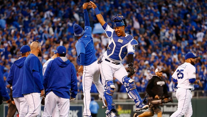 Salvador Perez celebrates after the Royals' 6-3 win.
